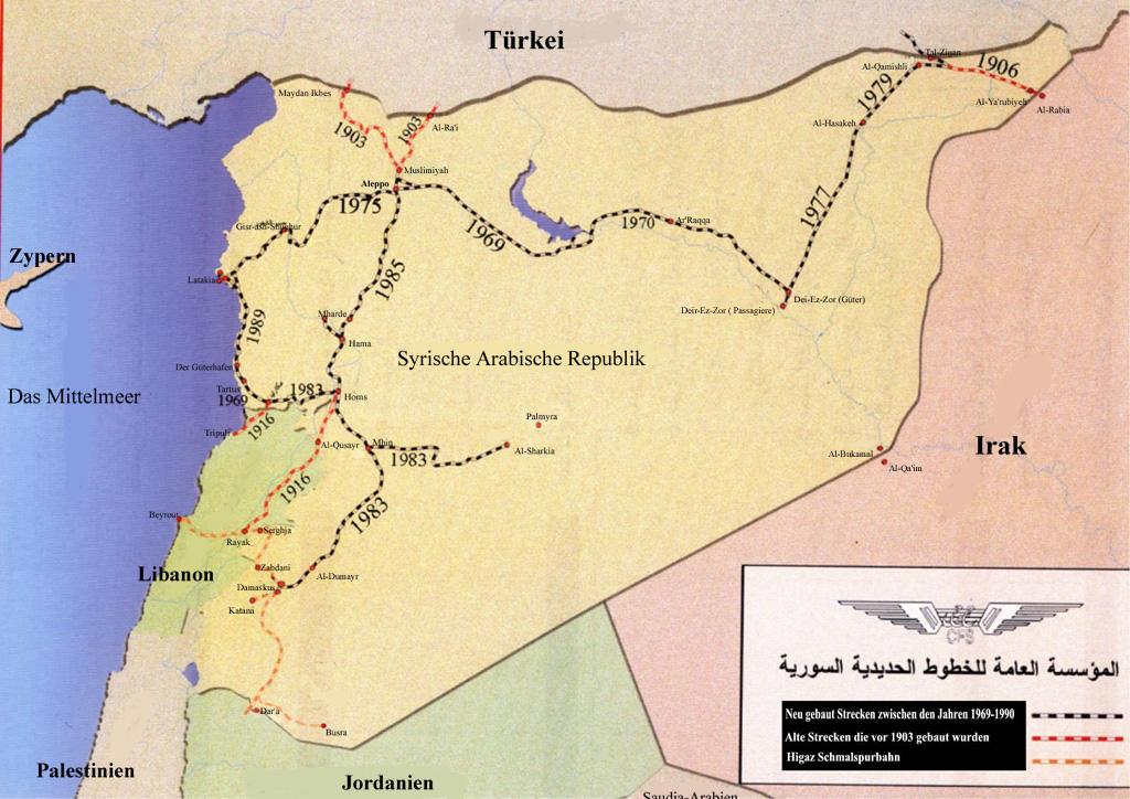 Syrien Irak Karte.Die Syrische Eisenbahngesellschaft